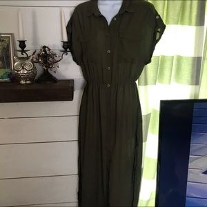 Lush x Nordstrom Sheer Olive Button Down Dress